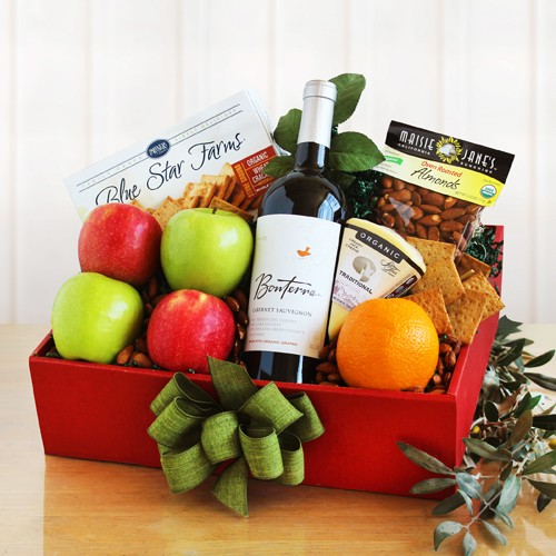 Organic Wine Cheese and Fruit Gift Box