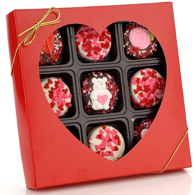 Romantic Chocolate Dipped Oreos- Box of 9