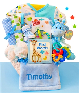 Safari & Friends: Personalized Baby Boy Gift Basket