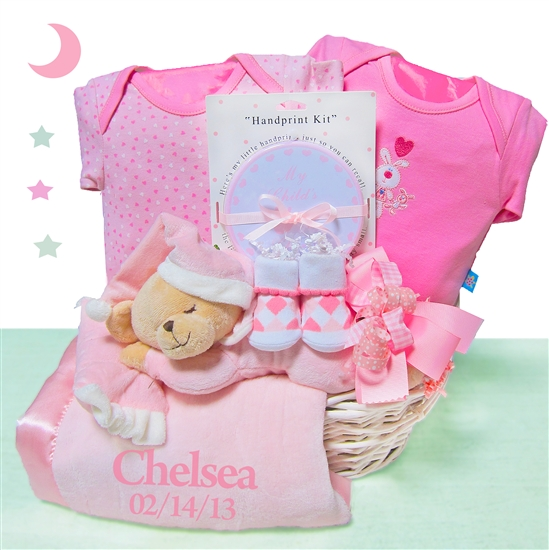 Sleepy Bear Nap Time Baby Girl Gift Basket