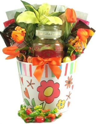 Tea & Fruit Candy Delights Gift Basket