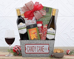 Candy Cane Lane Red and White Wine Gift Basket