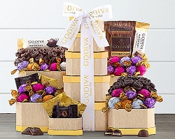 Deluxe Godiva Milk and Dark Chocolate Gift  Tower