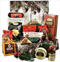 Happy Holidays Meat and Cheese Gift Basket