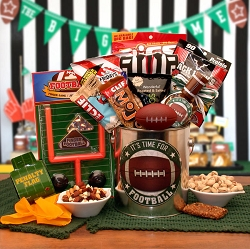 It's Time For Football Sports Gift Basket
