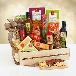 Wooden Cheese and Meat Gift Basket