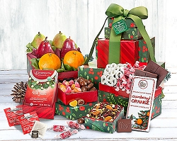 Deluxe Organic Holiday Fruit and Sweets Gift Tower