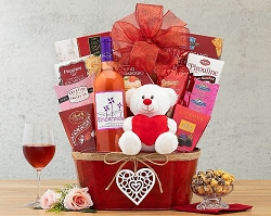 All My Love: Red Moscato  Valentine Wine Gift  Basket