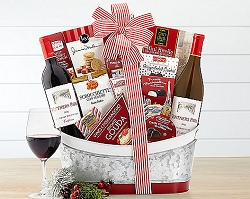 Silver And Red Holiday Wine Gift Basket