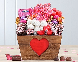 Valentine Sweets Brownie, and Godiva Truffles Gift Basket