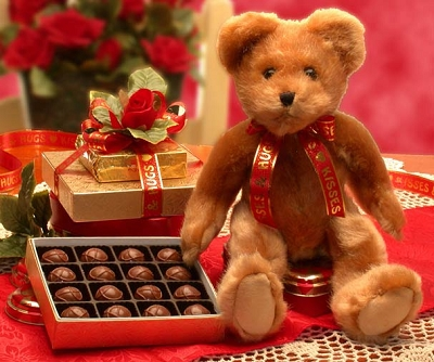 Kisses & Hugs Valentine Teddy Bear and Chocolates
