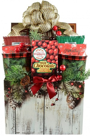 Festive Winter Christmas Holiday Gift Basket