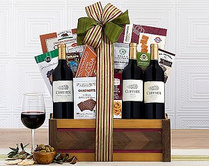 Deluxe Red Trio Wine Gift Basket