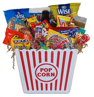 Junk Food Movie Night Gift Bucket