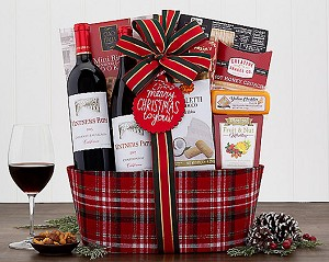 Merry Christmas To You: Red & White Wine Gift Basket